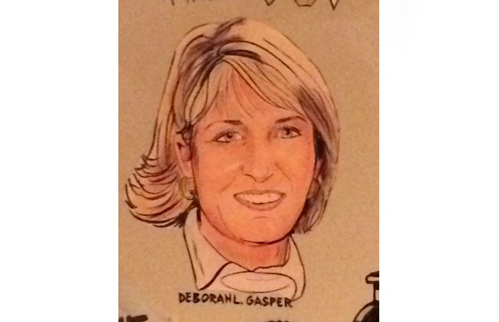 Debi Gasper caricature at The Palm restaurant