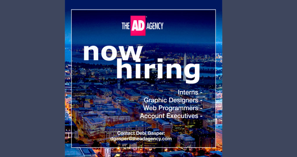 ad agency, now hiring, interns, graphic designers, web programmers, it, account executives