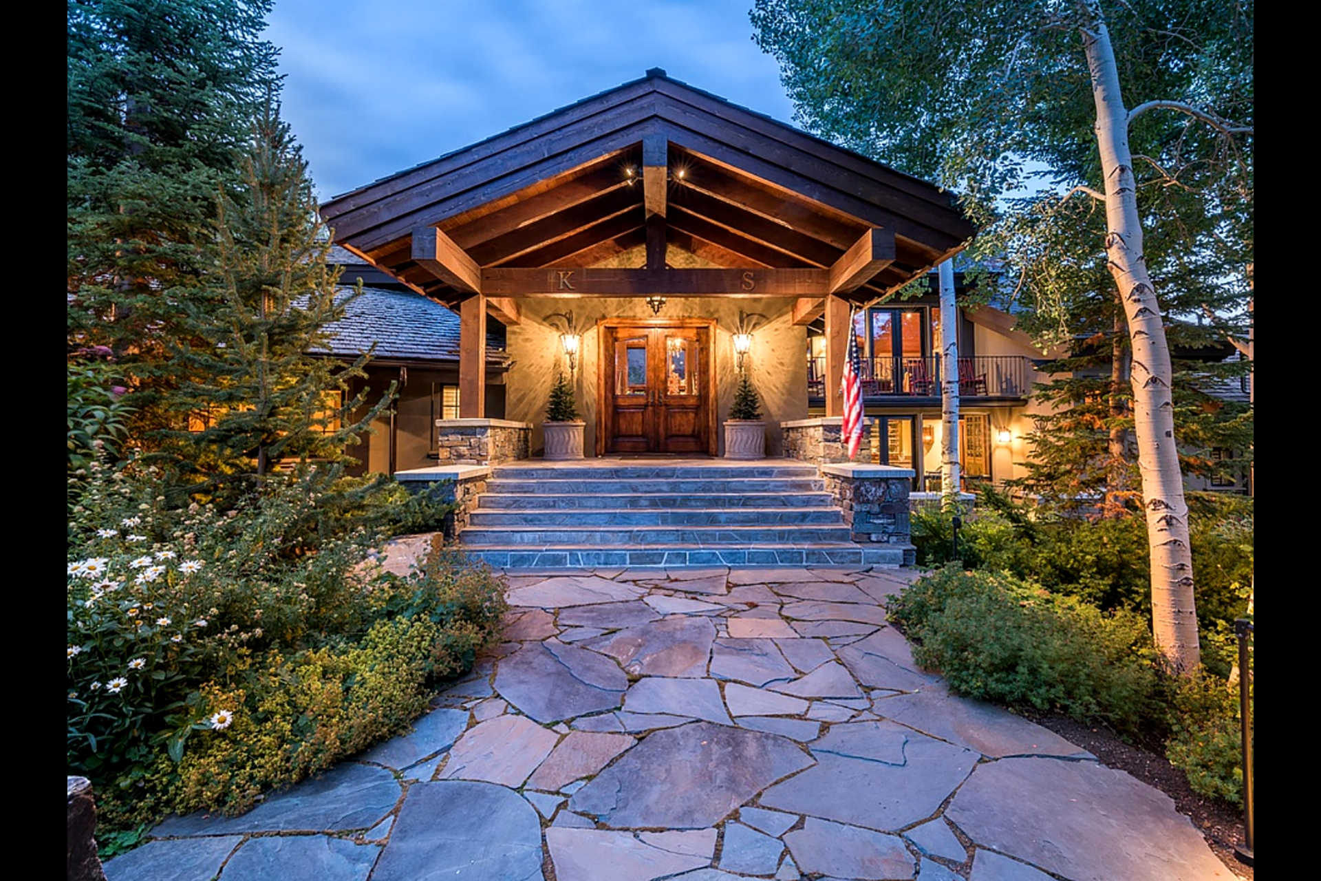 Entrance at dusk - 309 Madison Ave, Ketchum ID
