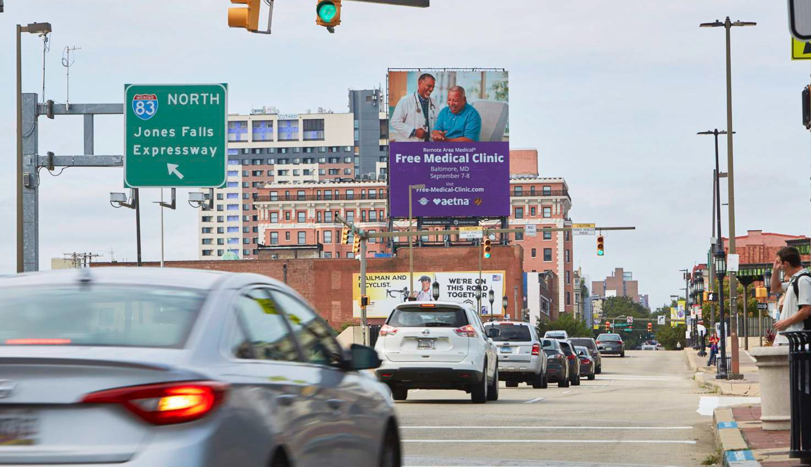 Free medical clinic billboard in downtown Baltimore