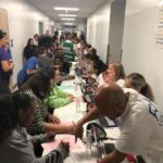 More than 200 people had already been seen at the free medical clinic by 8:00 am on Saturday morning.
